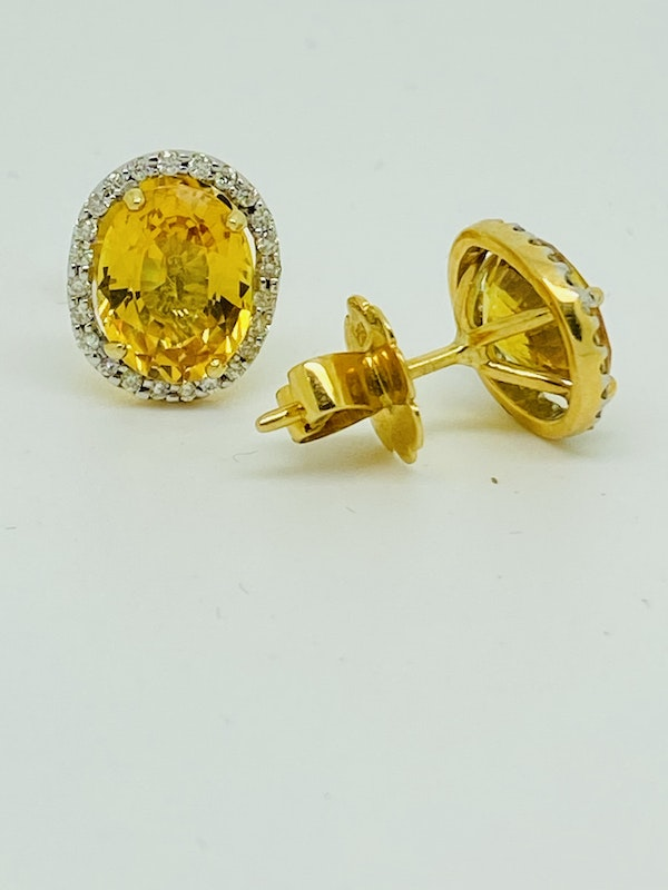 18K yellow gold, 7.16ct Natural Yellow Sapphire and 0.36ct Diamond Earrings - image 3