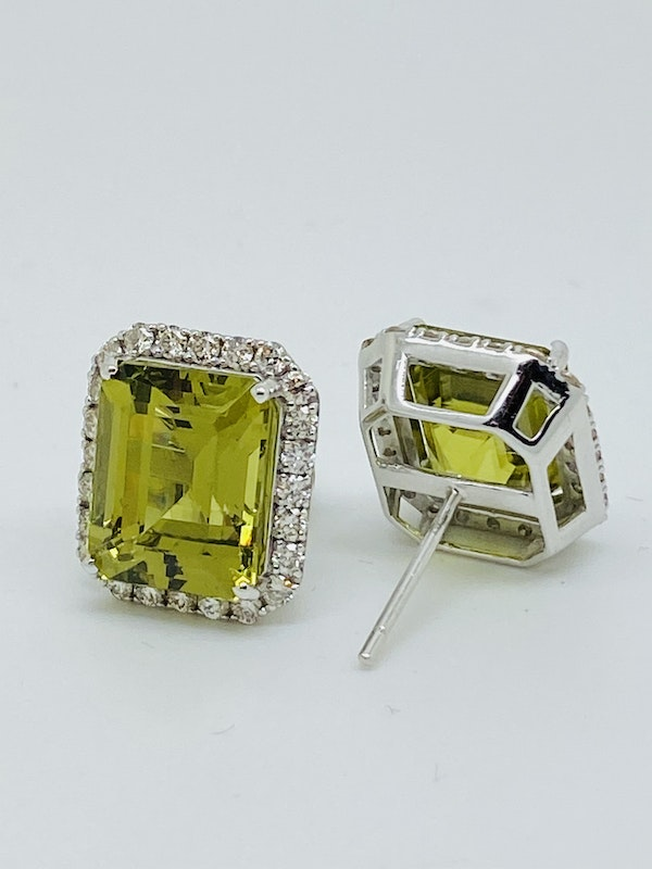 18K White gold 14.00ct Natural Green Tourmaline and 0.40ct Diamond Earrings - image 2
