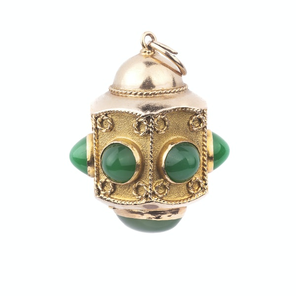 Gold and Green Onyx Lantern Pendant - image 1