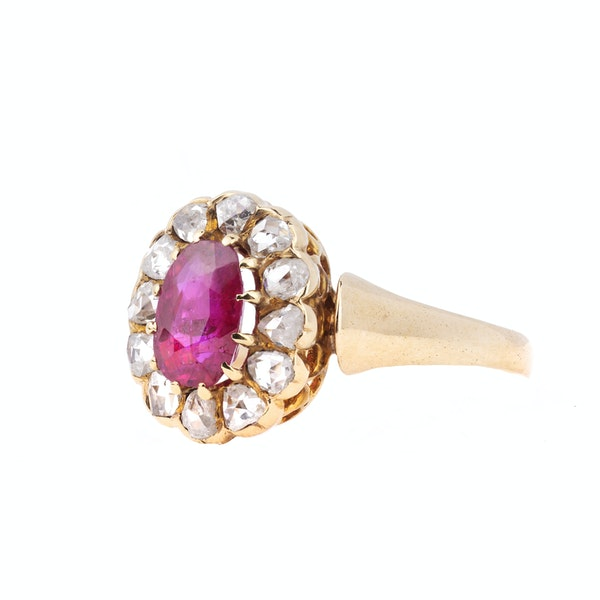 Antique Gold, Diamond and Ruby Ring - image 2