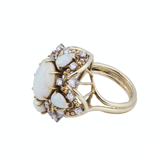 Gold, Opal and Diamond Ring - image 2