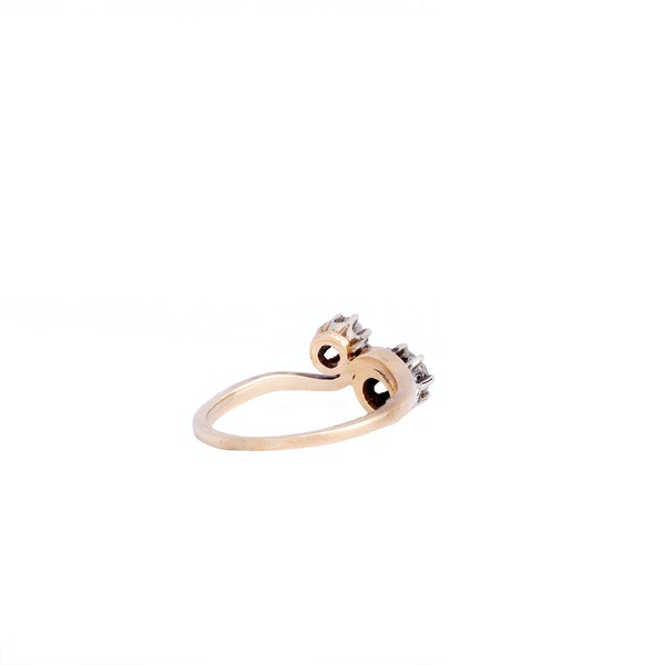 Gold, Two Stone Twist Diamond Engagement Ring - image 3