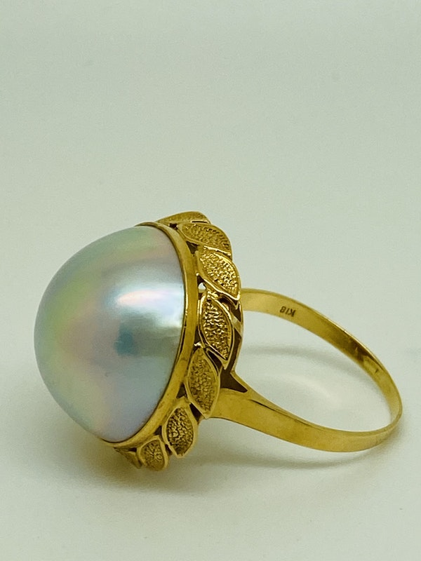 18K yellow gold Pearl Ring - image 2