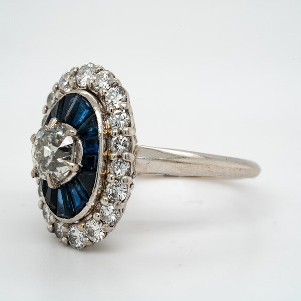 18K white gold 1.00ct Natural Blue Sapphire and 1.25ct Diamond Ring - image 7