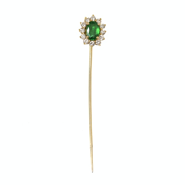 Vintage Emerald Tie or Lapel Pin with Diamond Surround, English circa 1970. - image 2