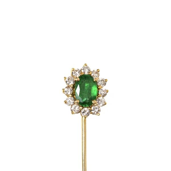 Vintage Emerald Tie or Lapel Pin with Diamond Surround, English circa 1970. - image 1