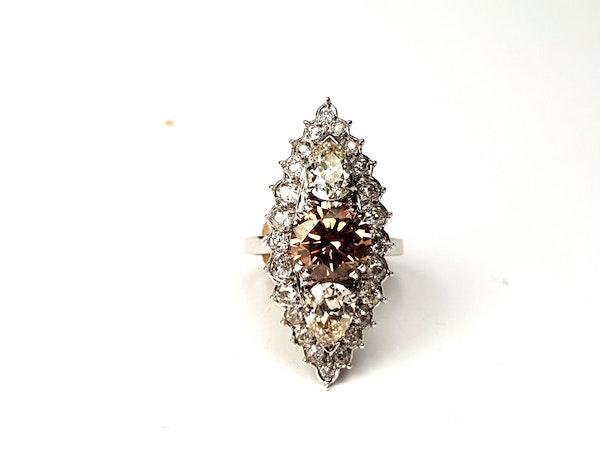 2.60ct cognac diamond and pair shaped diamond navette ring  DBGEMS - image 1