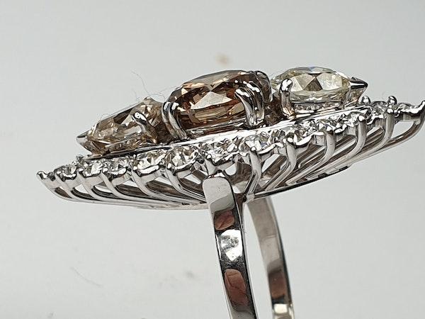2.60ct cognac diamond and pair shaped diamond navette ring  DBGEMS - image 5