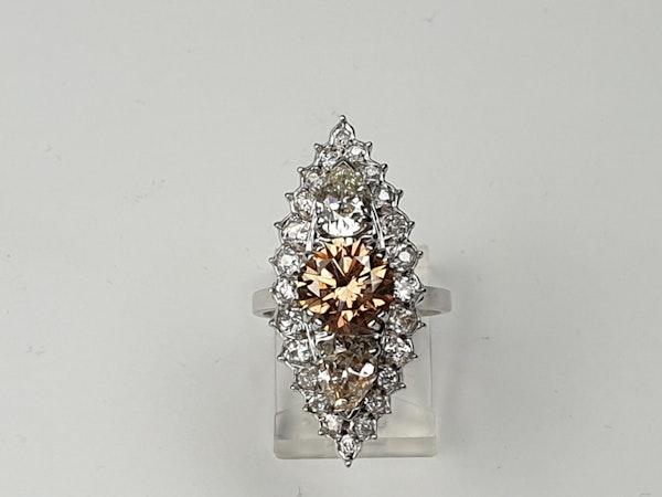 2.60ct cognac diamond and pair shaped diamond navette ring  DBGEMS - image 2