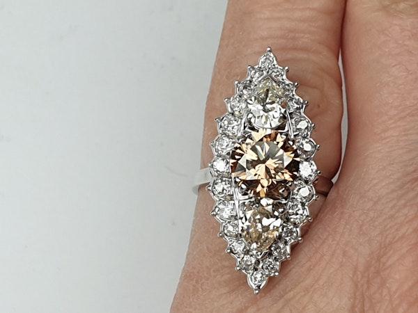 2.60ct cognac diamond and pair shaped diamond navette ring  DBGEMS - image 4