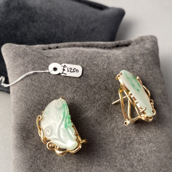 1970s, 14ct Yellow Gold Jade stone set Earrings, SHAPIRO & Co - image 5