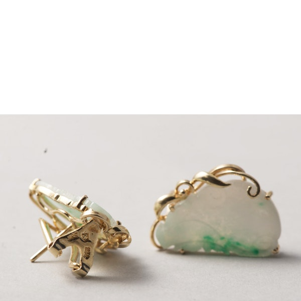 1970s, 14ct Yellow Gold Jade stone set Earrings, SHAPIRO & Co - image 4