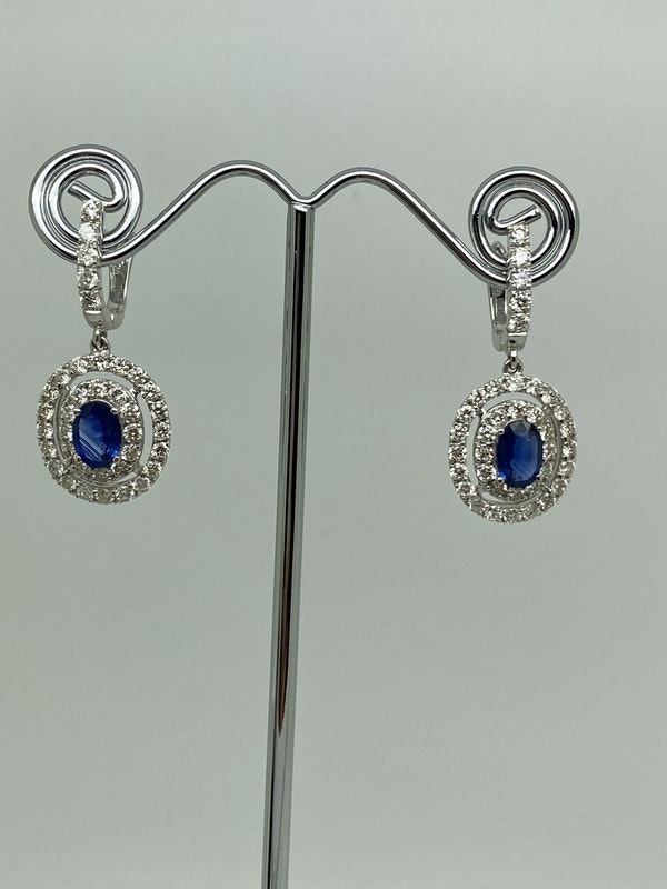 18K white gold 1.62ct Natural Blue Sapphire and 2.32ct Diamond Earrings - image 1