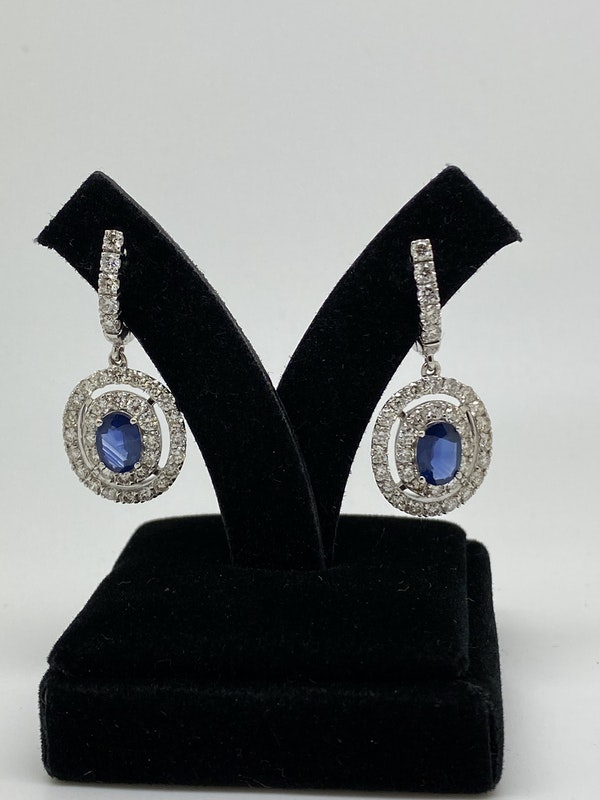 18K white gold 1.62ct Natural Blue Sapphire and 2.32ct Diamond Earrings - image 2
