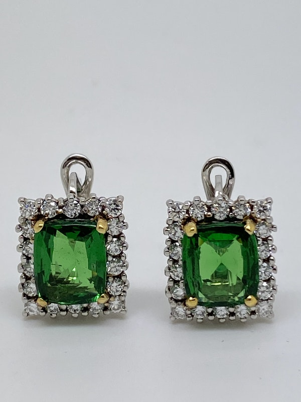 18K white gold 5.04ct Natural Tsavorite and 1.25ct Diamond Earrings - image 4