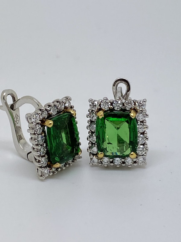 18K white gold 5.04ct Natural Tsavorite and 1.25ct Diamond Earrings - image 5