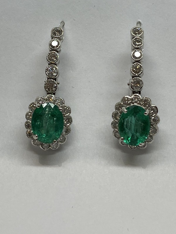 18K white gold 5.00ct Natural Emerald and 1.25ct Diamond Earrings - image 1