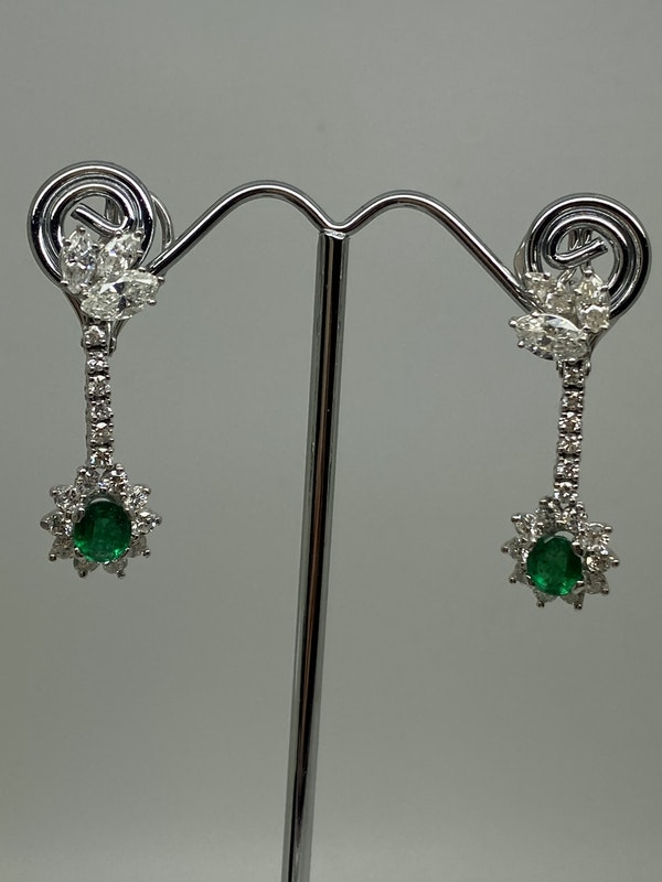18K white gold 1.25ct Natural Emerald and 2.00ct Diamond Earrings - image 2
