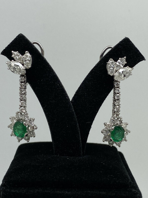 18K white gold 1.25ct Natural Emerald and 2.00ct Diamond Earrings - image 1