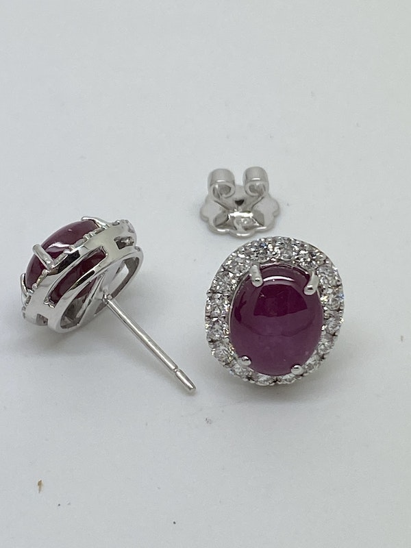 18K white gold 7.57ct Natural Cabochon Ruby and 0.93ct Diamond Earrings - image 2