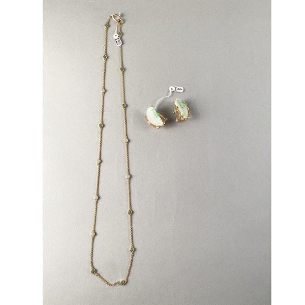 1970s, 14ct Yellow Gold Jade stone set Earrings, SHAPIRO & Co - image 6