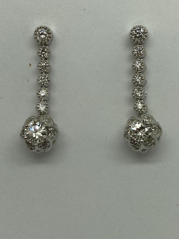 18K white gold 1.20ct Diamond Earrings - image 1