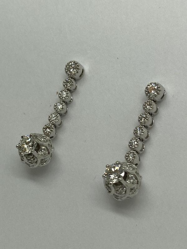 18K white gold 1.20ct Diamond Earrings - image 2