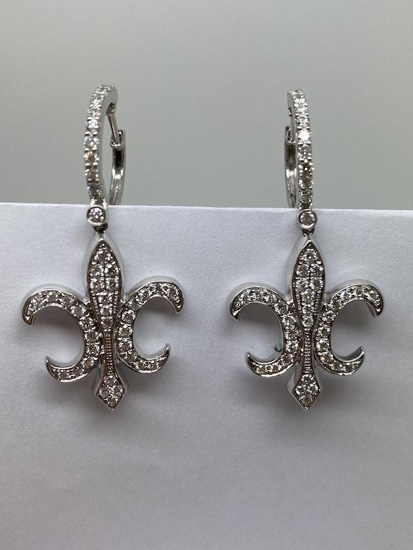 18K white gold Diamond Earrings - image 2