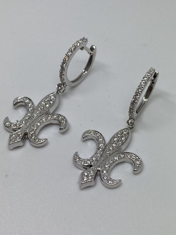 18K white gold Diamond Earrings - image 4