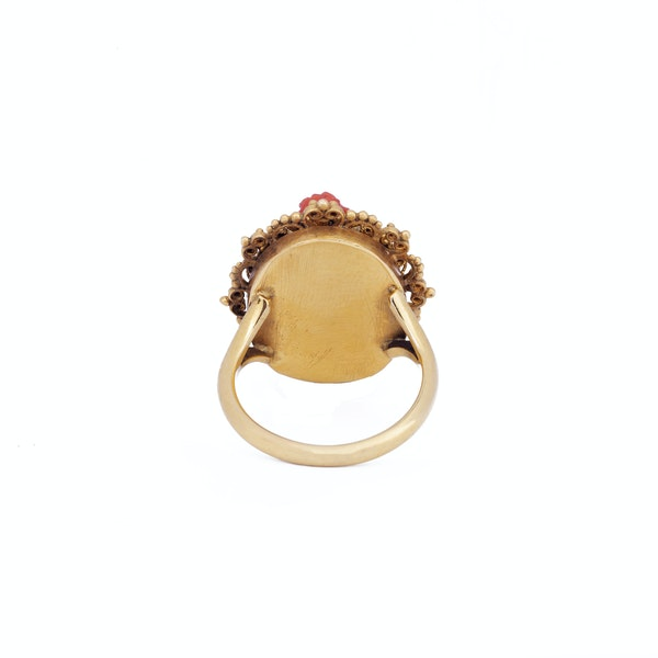 Antique Gold and Coral Cameo Ring - image 3