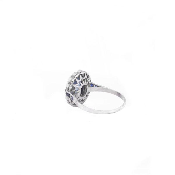 Art Deco Platinum, Diamond and Sapphire Ring - image 3