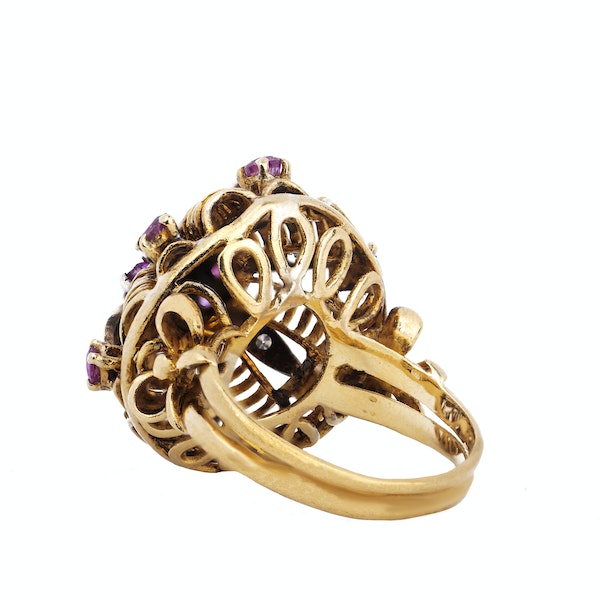 Antique Gold, Diamond and Ruby Ring - image 3