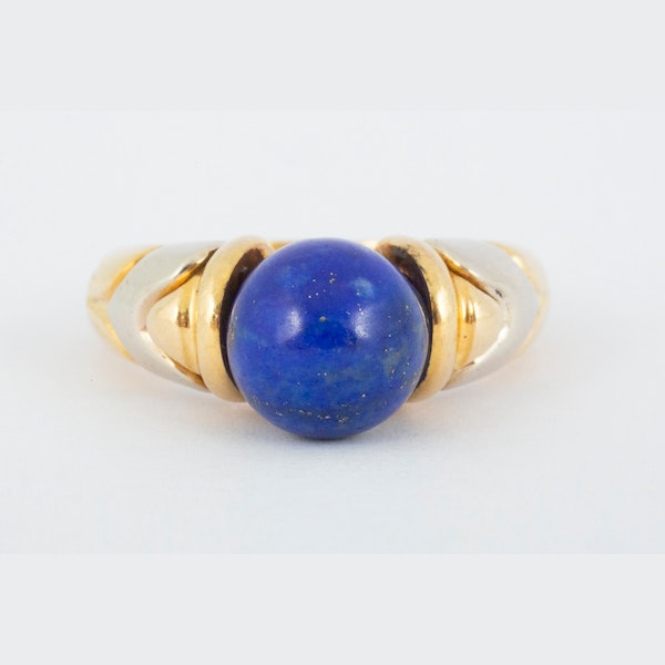 Vintage Bulgari Yellow and White Gold Ring with Lapis Lazuli Centre, Italian circa 1970. - image 1