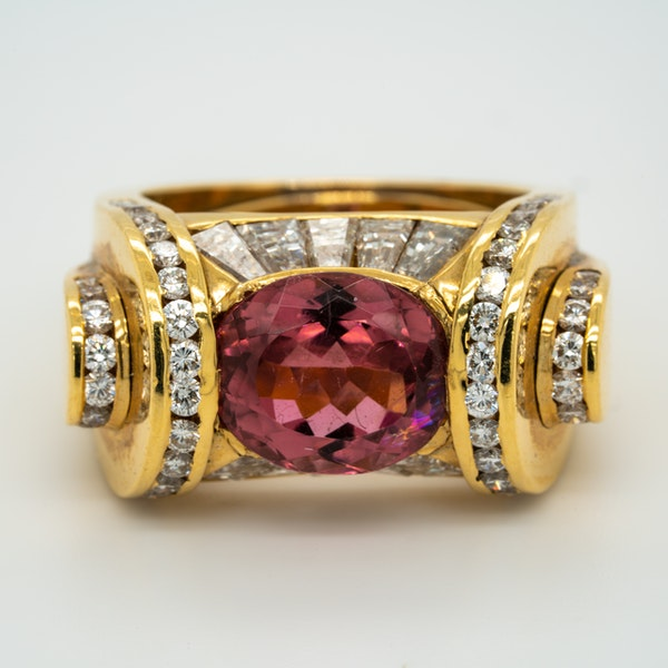 Pink tourmaline and diamonds fancy cocktail ring - image 1