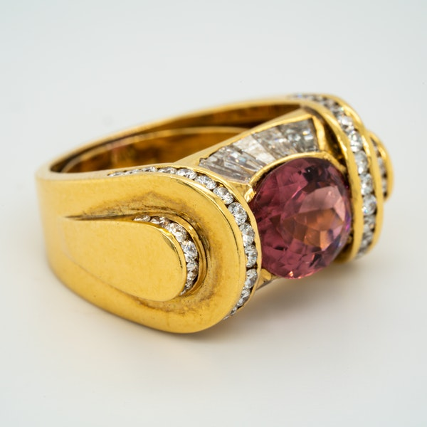 Pink tourmaline and diamonds fancy cocktail ring - image 2