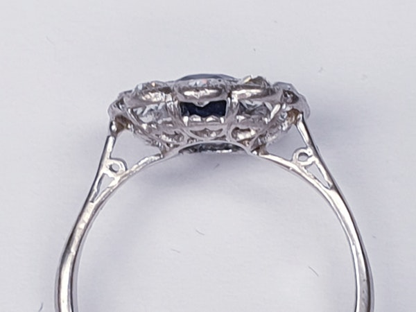 Antique sapphire and diamond cluster engagement ring - image 4