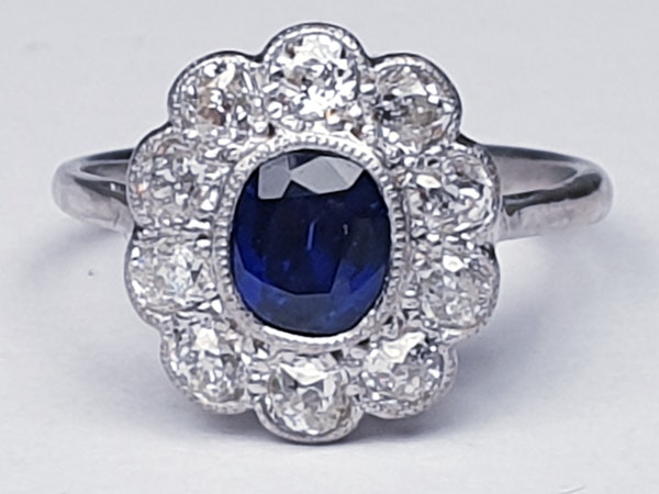 Antique sapphire and diamond cluster engagement ring - image 2