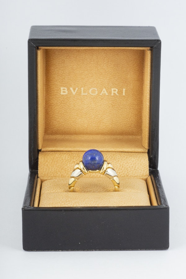 Vintage Bulgari Yellow and White Gold Ring with Lapis Lazuli Centre, Italian circa 1970. - image 2