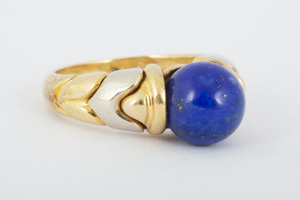 Vintage Bulgari Yellow and White Gold Ring with Lapis Lazuli Centre, Italian circa 1970. - image 3