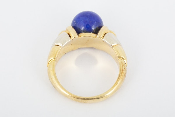 Vintage Bulgari Yellow and White Gold Ring with Lapis Lazuli Centre, Italian circa 1970. - image 4