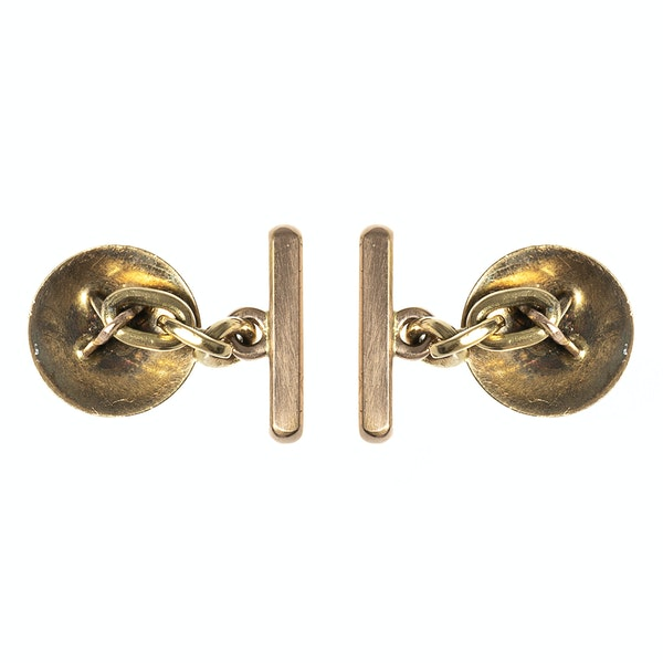 Early 20th Century Buttons now Cufflinks in Pink Guilloche Enamel & Diamonds, French circa 1900. - image 4