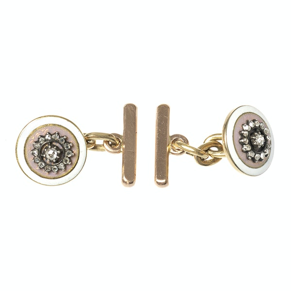 Early 20th Century Buttons now Cufflinks in Pink Guilloche Enamel & Diamonds, French circa 1900. - image 1