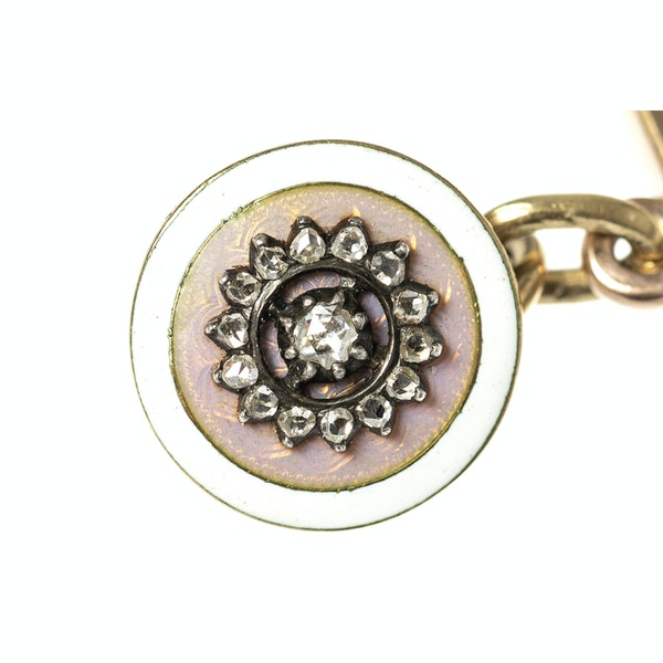 Early 20th Century Buttons now Cufflinks in Pink Guilloche Enamel & Diamonds, French circa 1900. - image 2