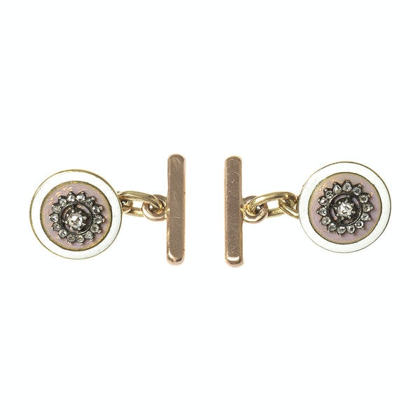 Early 20th Century Buttons now Cufflinks in Pink Guilloche Enamel & Diamonds, French circa 1900. - image 3