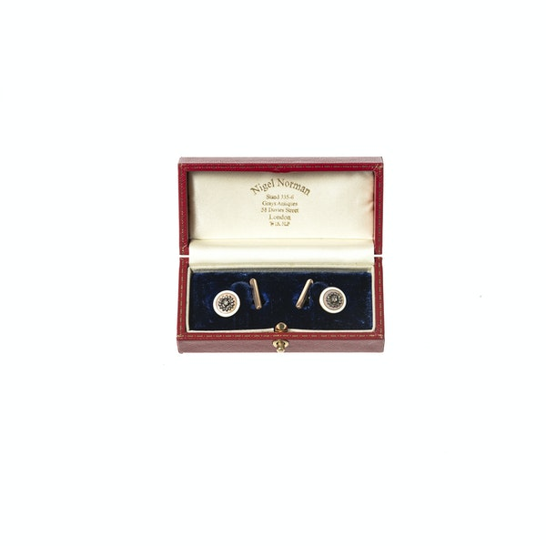 Early 20th Century Buttons now Cufflinks in Pink Guilloche Enamel & Diamonds, French circa 1900. - image 5