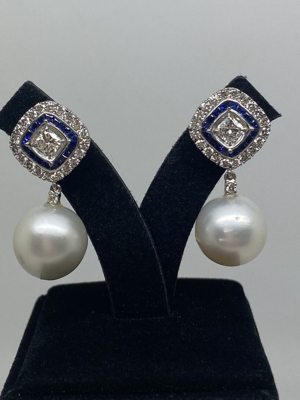 18K white gold Pearl, Diamond and Natural Blue Sapphire Earrings - image 2