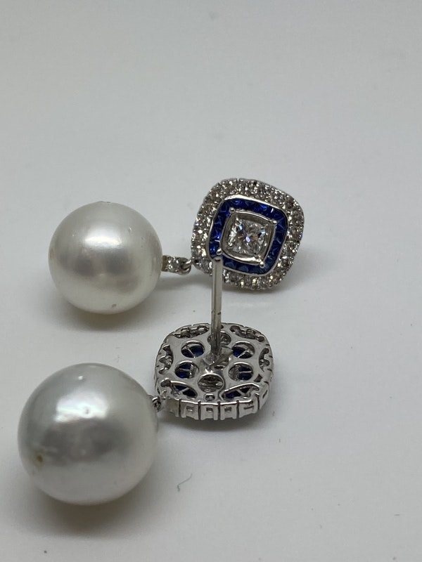 18K white gold Pearl, Diamond and Natural Blue Sapphire Earrings - image 3