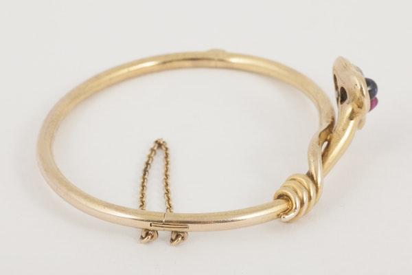 Antique Bangle/Bracelet 18 Carat Gold, Diamond, Ruby and Sapphire, *English circa 1890. - image 3