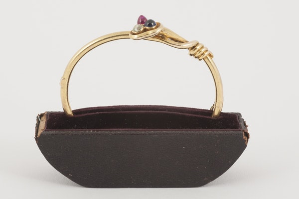 Antique Bangle/Bracelet 18 Carat Gold, Diamond, Ruby and Sapphire, *English circa 1890. - image 1