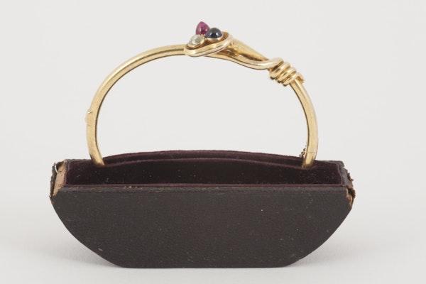 Antique Bangle/Bracelet 18 Carat Gold, Diamond, Ruby and Sapphire, *English circa 1890. - image 1